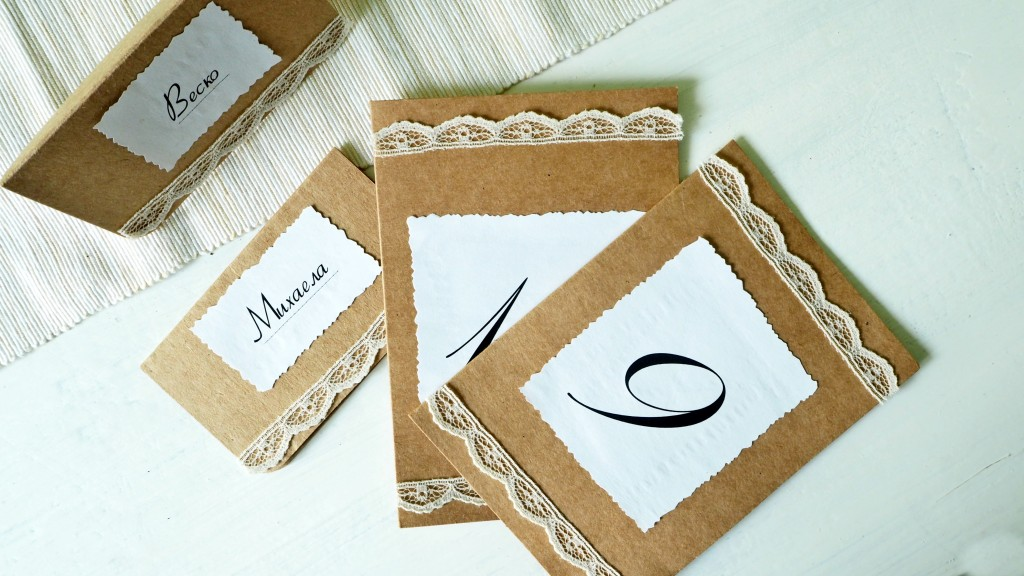 wedding placecards and table numbers